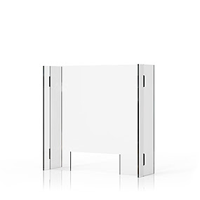 STOP C 6/6 SPITSTOP CLICK free-standing partition wall with pass-through for tables. Partition panel and side panels made of acrylic glass, transparent (6 mm).  Dimensions partition wall: 612 x 600 x 190 mm Dimensions pass-through: 320 x 110 mm  Order number: M2/33.06.06.00  Price:  45,00 €
